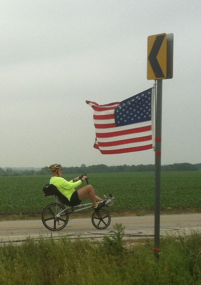 Recumbent bicycle approaching Rest Stop 4, Red P