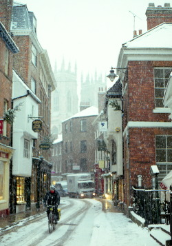 snow winter landscape street york england uk cityscape Britain gb Sam Fryers