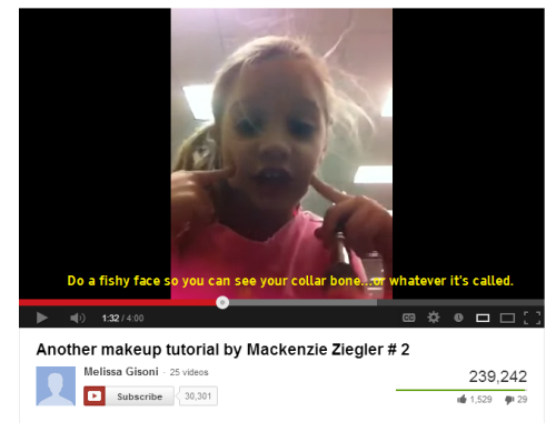 illustriouslosersclub:  Eight-year-old on applying blush.Do a fishy face so you can see your collar bone…or whatever it's called.