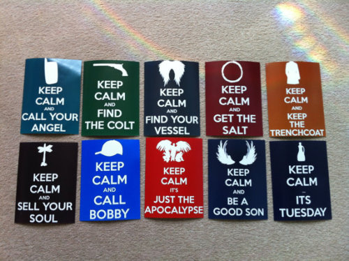 tangofox:  Supernatural Keep Calm Postcards For Sale **TUMBLR DISCOUNT** Just enter TUMBLR at the Checkout to get 20% off your order! https://www.etsy.com/uk/listing/130946556/supernatural-keep-calm-postcards?ref=shop_home_active