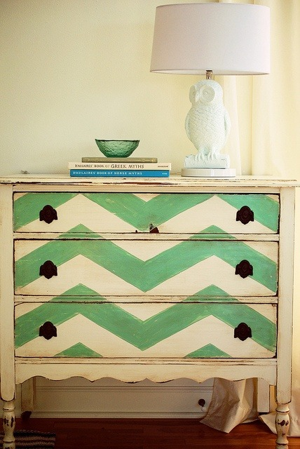 DIY Chic: Chevron Dresser with an Owl Lamp. A modern take on shabby chic. Loving this!