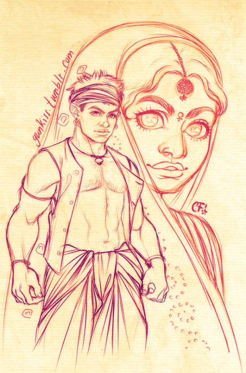gunkiss:  Lagaan's Bhuvan & Gauri A little sketch to celebrate this great movie. I'm gonna go ahead and try and finish this when I get some time, in the meanwhile, hope you like it =) Textures are my own.