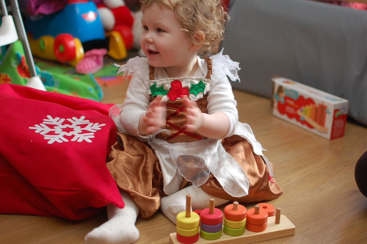 Sophie, dressed as a christmas pudding, with the surprise hit toy of the day: Some wooden pegs and wooden disks. You stack the disks on the pegs. Rinse. Repeat. In her world, it's hilarious and exciting and magical and she just wanted to play with it all day. Bless her little pudding face.