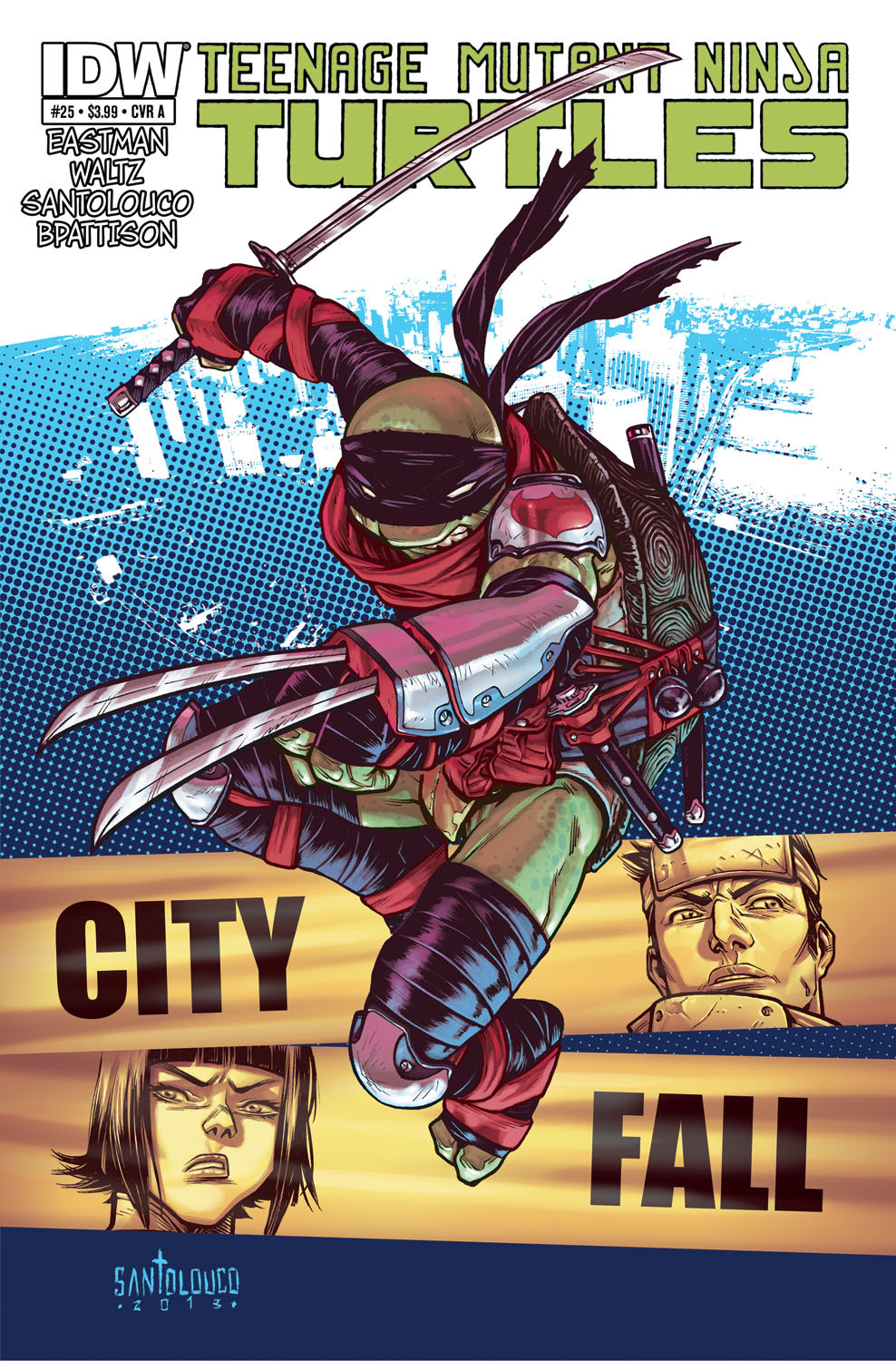 "mooncalfe:  santolouco:  TMNT#25: City Fall_cover by *Santolouco My cover for IDW'S TMNT#25: City Fall-part 4The cool thing about this issue is that I'll be teaming up with the legend and TMNT co-creator Kevin Eastman who will do the breakdowns/preliminary layouts!""CITY FALL"" part 4: City Fall continues as Shredder reveals his new second-in-command: Leonardo! While the underworld readies their armies, the Turtles must come together if they have any hope of saving their brother. Don't miss this landmark 25th issue that sees the launch of a full-scale war on New York City! The Savate, Foot Clan, and Slash are all back — along with a couple of shocking special guests!Btw, all these covers are colored by me.Like it on Facebook > http://on.fb.me/10u1bITFave it on Deviant Art > http://fav.me/d65gfu4  omg  Turtlegasm!!"