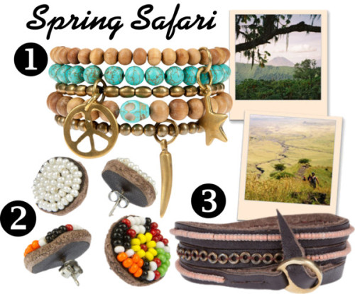 Me to We Spring Safari by myafrofashion featuring braceletsBracelet / Earrings / Earrings / Bracelet