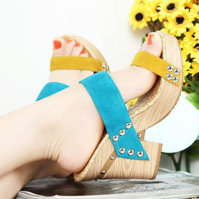 (via Colorful Cow Leather Chunky Heel Women's Sandals)