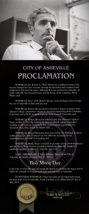 City of Asheville Honors Legacy of Dr. Bob Moog by Declaring May 23rd Bob Moog DayMoog Music to Donate $25,000 in instruments to Asheville City Schools