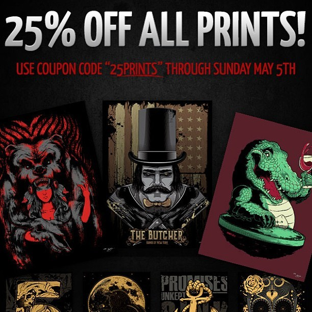 "25% off all prints until Sunday! Use coupon code ""25Prints"" in the checkout at www.seventhink.com"