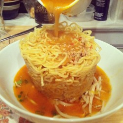 Takeout ramen tower (at the robins nest)