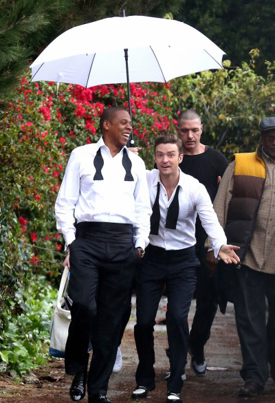 Jay-Z & Justin Timberlake on the set of 'Suit & Tie' [Jan 25th].