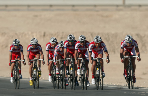 The Katusha Team in action during stage two of the 2013 Tour of Qatar, a 14km Team Time Trial, along Al Rufaa Street on February 4, 2013 in Doha, Qatar. (February 3, 2013 - Source: Bryn Lennon/Getty Images Europe) (via Tour of Qatar - Stage Two - Pictures - Zimbio)