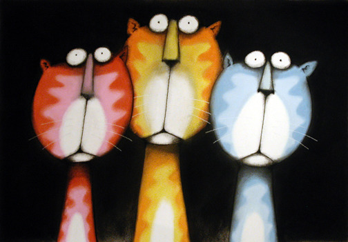 "Clown Cats - 28"" x 21"" pastel and charcoal on paper - AVAILABLE Email me for prices"