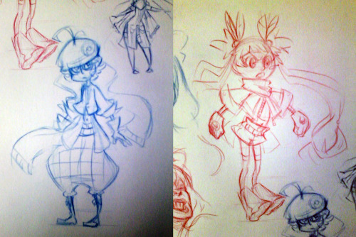 just some doodles of pokemon OCs I did in school the girl with pikachu accessories in her hair belongs to this dude