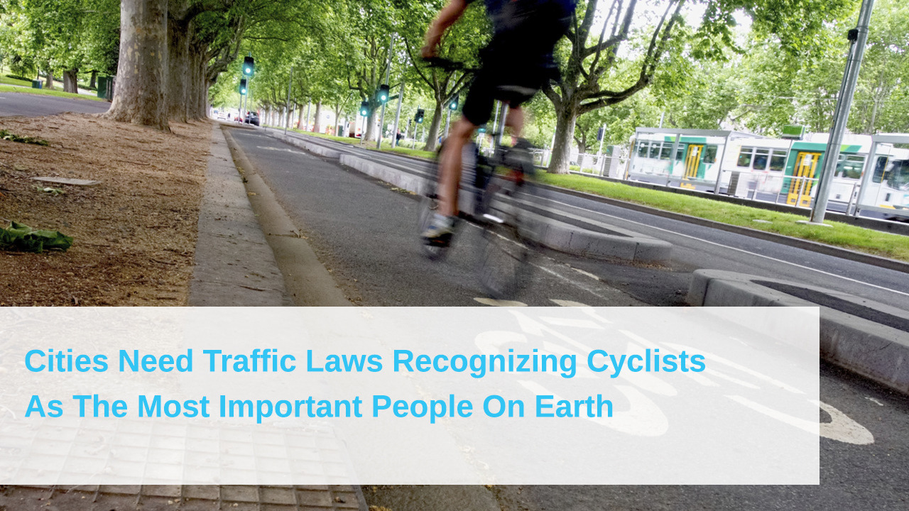 """clickholeofficial:  """"Anyone with a basic modicum of courtesy knows that cyclists should be allowed to do whatever we want, whenever we want…""""   Strongly agree."""