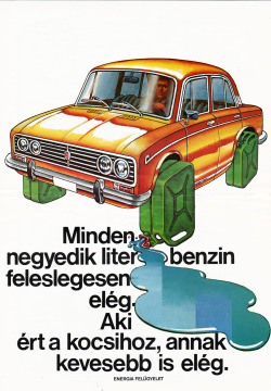 Hungarian poster promoting gasoline efficiency, 1979.