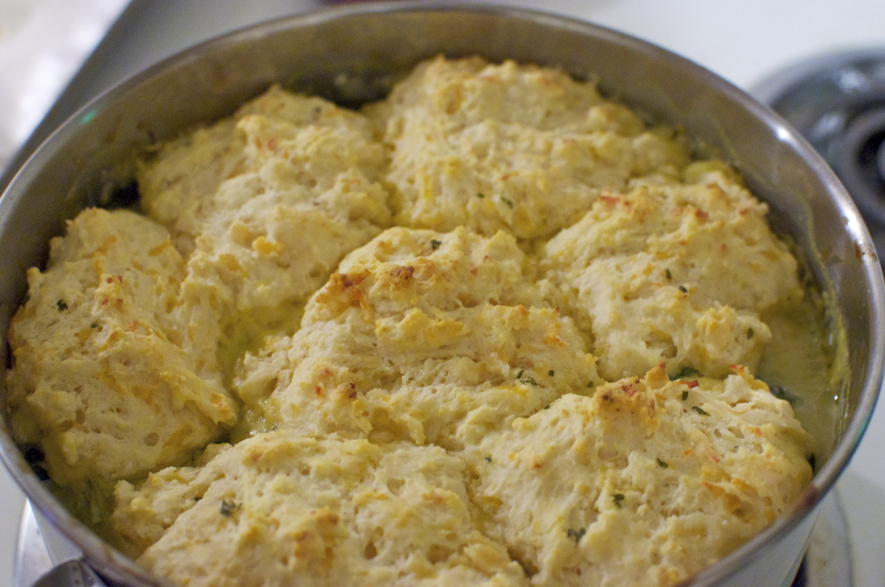Chicken Florentine and Cheddar Bay Biscuits [[MORE]] — Chicken and biscuits is a southern classic, but I've decided to add a twist by using chicken florentine and topping it with cheddar bay biscuits.  The chicken florentine is shredded chicken in a rich, creamy sauce filled with spinach, mushrooms, and parmesan cheese. I top the stew with cheesy, cheddar biscuits and then bake it until the biscuits are golden brown.  You will love how creamy the chicken florentine is, how the biscuits are crisp and buttery on the outside but light, cheesy, and fluffy on the inside, and how the parmesan cheese in the chicken compliments the cheddar in the biscuits. This dish makes for an easy dinner any night of the week!   Chicken Florentine and Cheddar Bay Biscuits Chicken Florentine 1 tbsp oil, divided 2 (10 oz) bags spinach 1 onion, finely diced 3/4 cup sliced mushrooms 4 slices bacon, diced 1/4 cup butter 1/4 cup flour 1/2 cup chicken broth 1 1/2 cups milk 1/2 cup half and half 1 tbsp lemon juice 1/4 tsp salt 1 tbsp italian seasoning 1/2 cup parm cheese 1 lb cooked chicken, shredded  Cheddar Bay Biscuits: 2 cups bisquick 2/3 cup milk 2/3 cup cheddar cheese 1/4 cup butter, melted, divided 1/2 tsp garlic powder, divided pinch salt pinch onion powder 1/4 tsp dried parsley — To prepare the chicken florentine: Preheat the oven to 375 degrees F. In a large, oven-safe pot, saute the spinach with 1 tsp oil over medium high heat. When wilted down, transfer the spinach to a bowl and set aside. Pour the remaining 2 tsp oil into the pot and saute the onion, mushrooms, and bacon for about 5 minutes, or until vegetables are tender. Add the 1/4 cup butter and flour. Cook, while stirring constantly, for 2 minutes. While stirring, slowly pour in the chicken broth, milk, half and half, and lemon juice. Season with salt and italian seasoning. Bring to a boil, then add the parmesan cheese and shredded chicken. Simmer for another 10 minutes while preparing the biscuits. To prepare the cheddar bay biscuits: In a large bowl, combine the Bisquick mix, milk, cheddar, 2 tbsp melted butter, and 1/4 tsp garlic powder. Drop large balls of the biscuit dough on top of the chicken florentine.  Bake at 375 degrees for about 15 minutes, until the biscuits are golden brown.  In a small bowl, combine the remaining 2 tbsp melted butter, remaining 1/4 tsp garlic powder, pinch of salt, pinch of onion powder, and parsley. Drizzle the melted butter mixture on top of the biscuits and serve! Makes 6 servings. **Note: If you do not have an oven-safe pot, you can transfer the cooked chicken florentine to a casserole dish. Top with the cheddar bay biscuit dough and bake at 375 degrees for 15 minutes.