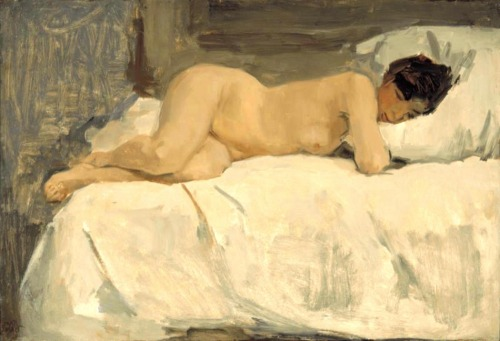 Israels, Isaac (Dutch (1865-1934)Female Nude lying on a Sofa