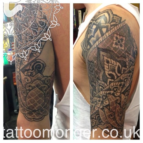 Thai Inspired Tattoo #tattoomonger #thai #geometry #tattoo #dotwork  #blackwork @londontattoo