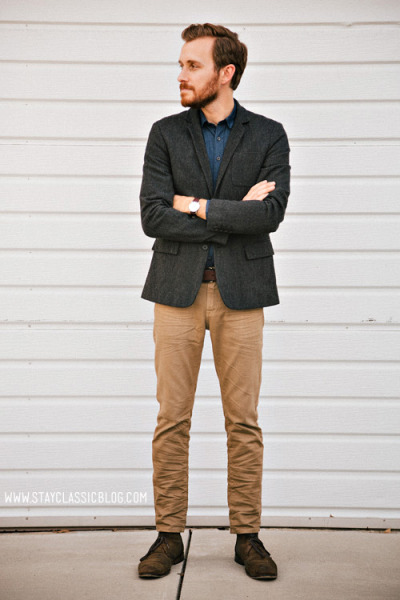 stayclassic:  February 15, 2013. Blazer: All Saints Outlet - $125 Shirt: Frank & Oak - $35Jeans: American Eagle - $26Boots: John Varvatos Sid Chukka - $129 (eBay) (similar)Sunglasses - Ray Ban Clubmaster in Tortoise - $89Watch: Timex Easy Reader - Target - $29Belt: Levis - $10 (Marshalls) (similar)