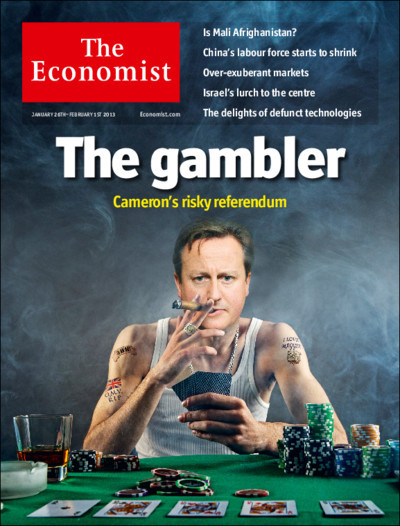 Our cover in Britain: in promising a referendum on Europe, the prime minister is taking a punt.