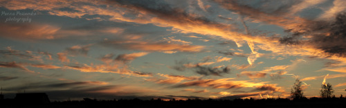 panoramic photo of burning sky/Żyrardów, Mazovia, Poland./