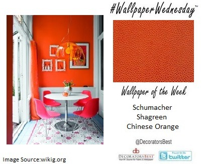 Schumacher – Shagreen – Chinese Orange - Price Per Roll: $120.75