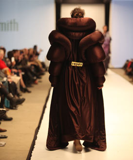 Virtually none of my photos of the 2013 SAIC Fashion Show came out.  Luckily these two did and they were a couple of my faves.  The first is Sam Salvo's restrictive menswear.  The second is Rose Halpern's boxer's warmup jacket meets Junya Watanabe meets Michelin Man number.  Images from Bad At Sports