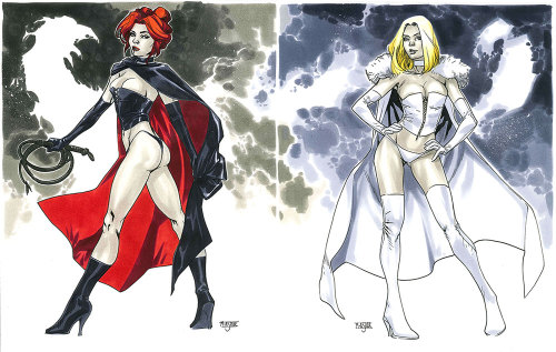 Black Queen & White Queen - NYCC 2012 Pre-Show CommissionsThese two pieces, which you can see separately on my two previous posts,  were done for the same person so I thought it'd be a good idea to make the pieces both stand alone on their own and also look good next to each other. The composition and rendering was done with that in mind.