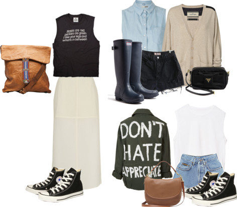 ello-style:  Requested! Potential SXSW outfits for anon! 2 by scholarly-tongues featuring a v neck cardigan