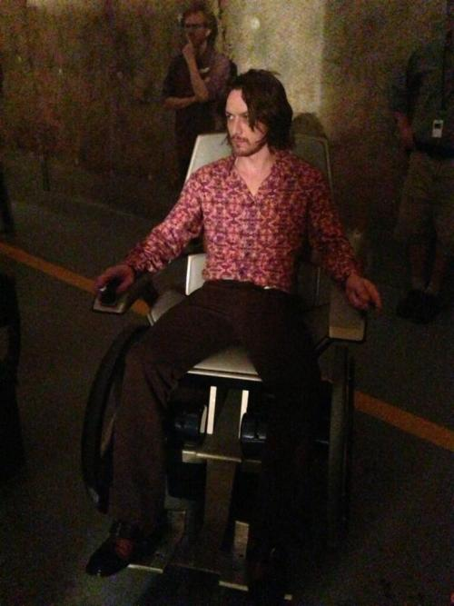 midtowncomics:  James McAvoy as 70's era Professor X for X-Men Days of Future Past.   lol no way is this realHe looks like bloody Charles Manson!!! Please tell me that's a bad photoshop. I mean, how do you make James McAvoy of all people have bad hair?