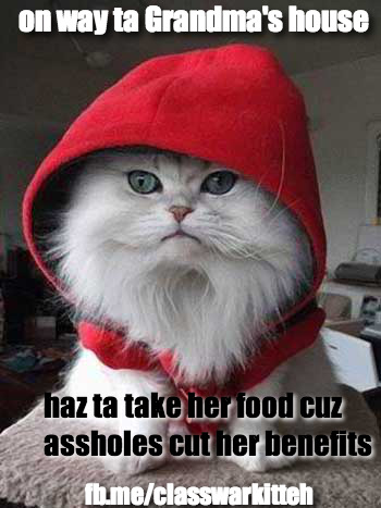 Thanks to the Grand Bargain Red Riding Cat will have to take her grandma food because Congress bargained it away.