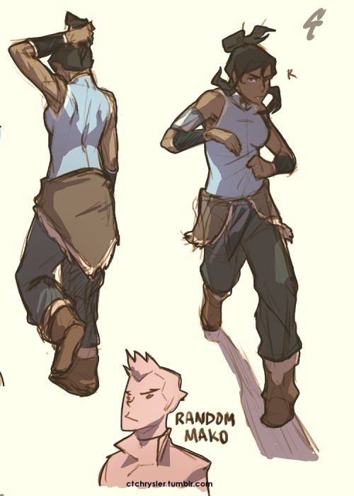 "ctchrysler:  Random LoK (mainly Korra) doodles! The ones marked ""R"" were referenced.  That firebender girl belongs to me; Korra, Mako, Bolin, Asami belongs to Bryan & Mike!"