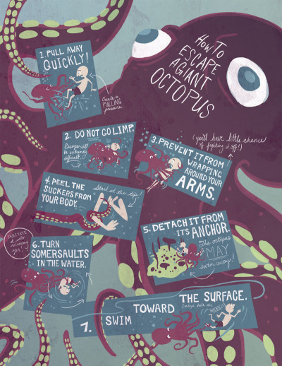 "sabinalindemann:  ""How to Escape from a Giant Octopus."" Infographic for my Illustration class. Wheeee."
