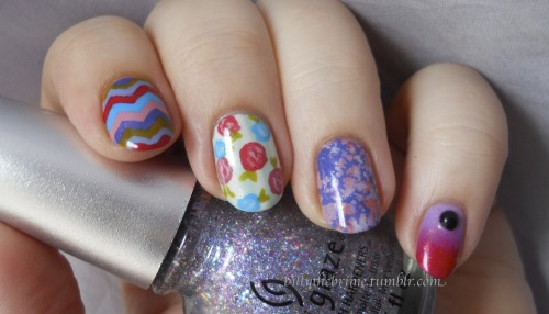 From Springy drips, to Springy skittles. What can I say? I love these colors! So many polishes, not enough nails. I wish the flakies on the pinky were more noticeable in the picture. I have the glitter on my thumb in a gradient. Colors Used: China Glaze- Prism, Tart-y For The Party, Mimosa's Before Main's, Snap My Dragon, Dandy Lyin' Around, Sunday Funday, Budding Romance, Fade Into Hue, Fancy Pants, Pink-ie Promise, Passion For Petals, Life Is Rosy, Keep Calm, Paint On Sinful Colors- Black On Black (painted over rhinestone) Color Club- Snowflakes