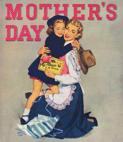 rogerwilkerson:  Mother's Day, detail from 1951 Whitman's Candy ad.