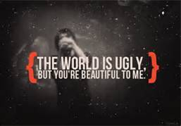 "themcrmyrevolution:  ""The world is ugly, but you're beautiful to me."" -Gerard Way"