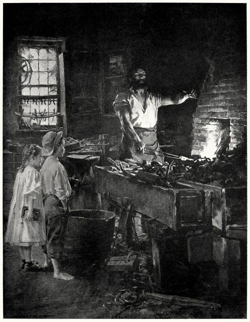 The village blacksmith.  William Ladd Taylor, from Our home and country, introduction by William Howe Downes, New York, 1908.  (Source: archive.org)
