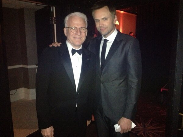 Joel McHale and Steve Martin photo at red carpet. Steve is a father now at age 67.