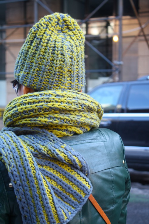 Keeping warm outside the @DKNY show today #NYFW #streetstyle