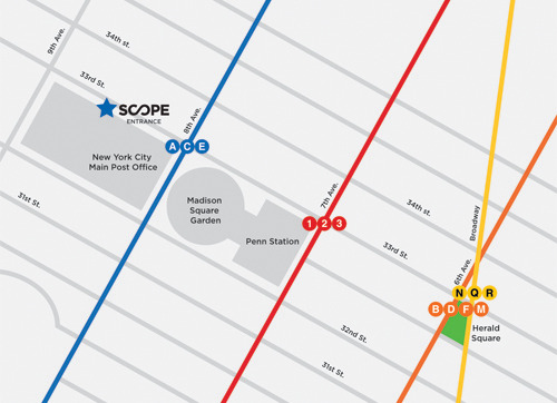 On your way to #SCOPENewYork 2013? This year, SCOPE New York takes place at 312 West 33rd Street between 8th & 9th Avenue right opposite Madison Square | Penn Station.