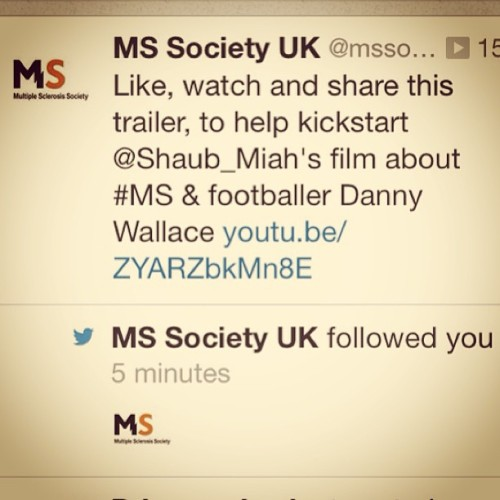 Thank you #mssocietyuk for #following #liking #sharing #subscribing the #power of #social #media let the #kickstarter begin!