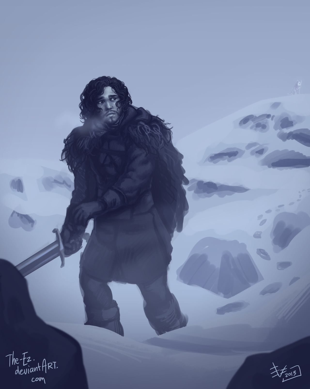 Jon Snow is Still Sad by *The-Ez Don't be sad, Jon! The Season Premiere is ToNIGHT!! I fully expect the quality and quantity of ASOIAF art to ramp up over the next few months now that we've got season three to keep us all inspired :)