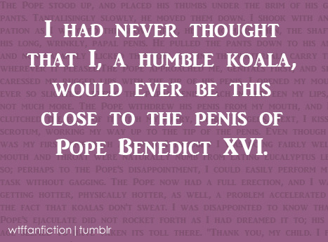 "Fandom: RPF (Pope Benedict XVI/a Koala) ""I had never thought that I, a humble koala, would ever be this close to the penis of Pope Benedict XVI."""
