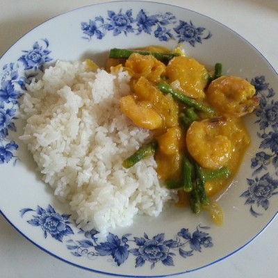 #lunch  ginataang kalabasa with shrimp and asparagus