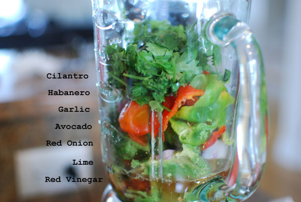 avocadogarden:  Avocado Habanero Salsa Ingredients: 2 ripe avocados 1 lime 1 cup of red wine vinegar  handful of cilantro 1 clove of garlic 5 habaneros, seeds removed 1/2 a red onion & lots of salt and pepper Directions: Blend all ingredients until smooth. Put in the fridge for about an hour (optional) Notes: This salsa won't brown 5 minutes after making it. You can store it in the fridge for about a week. Goes great with tacos, burgers, salads, chicken, or steak,  mmmmmmmmmmmmmm
