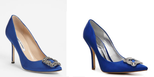 Look for Less: Manolo Blahnik's 'Hangisi' Jeweled Pump Manolo Blahnik's royal blue satin pumps are gorgeous, but they also cost $965.  For a look for less, try Audrey Brooke's Sarah Pump for $69.95.