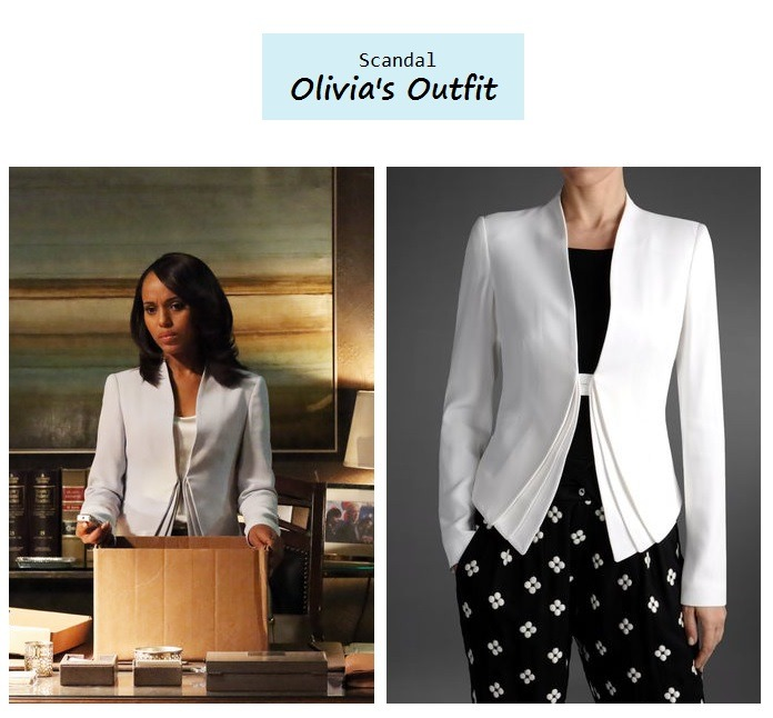 "popdetour:  Kerry Washington as Olivia Pope in Scandal - ""White Hat's Back On"" (Ep. 222 - Season Finale). In less than one hour, it will be our turn west coast! How gorgeous is Olivia's Armani jacket? Her version is more of a pale blue hue, but it's currently available in black and ivory online. Olivia's Outfit: 1. Armani One Button Jacket $845 here 
