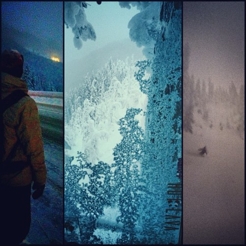 Dusk mission with @michmanogram and @sir_garv_a_lot. #stevenspass #snowboarding #nightpow #hotlava #winter  (at Daisy Chair)