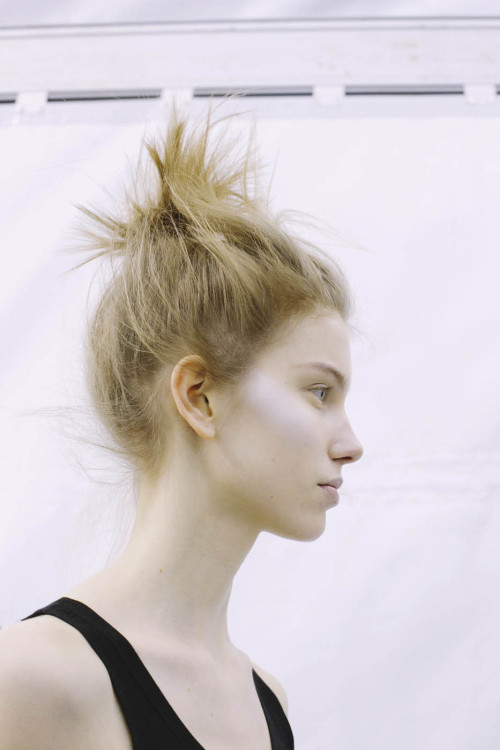 backstage at Issey Miyake, fall/winter 2013