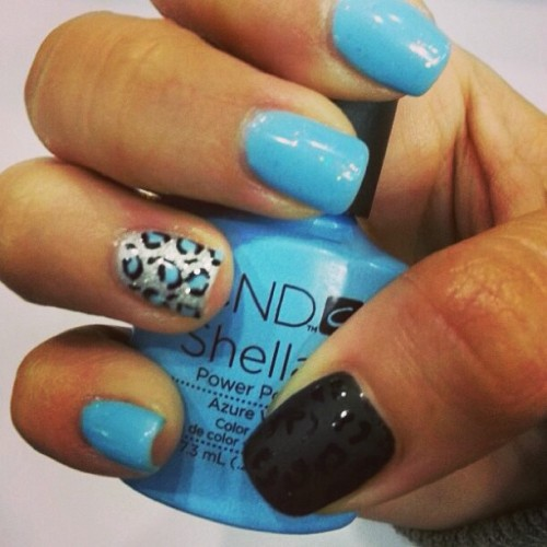 #nails#blue#black#animal#print 💅💁